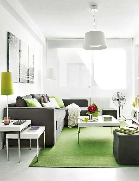Intérieur design : salon vert et blanc
