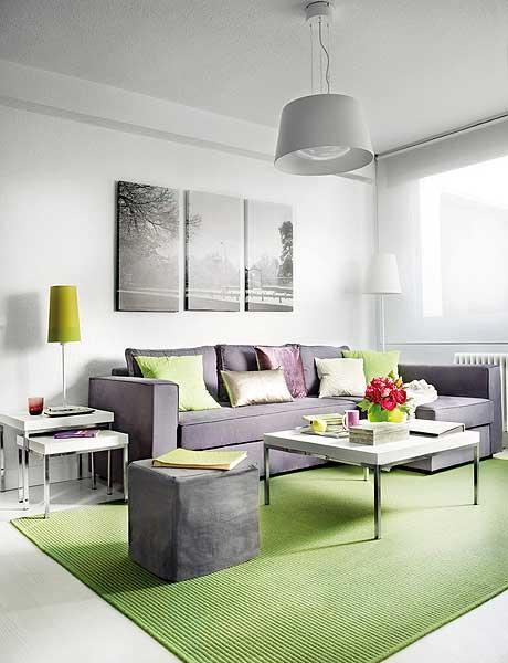 Intérieur design, salon blanc et vert lime