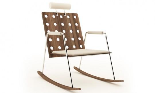 Rocking chair vintage avec appui tête