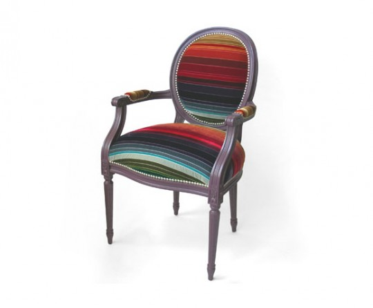 Fauteuil louis xv multicolore dransfield and ross - Fauteuil en forme d oeuf pas cher ...