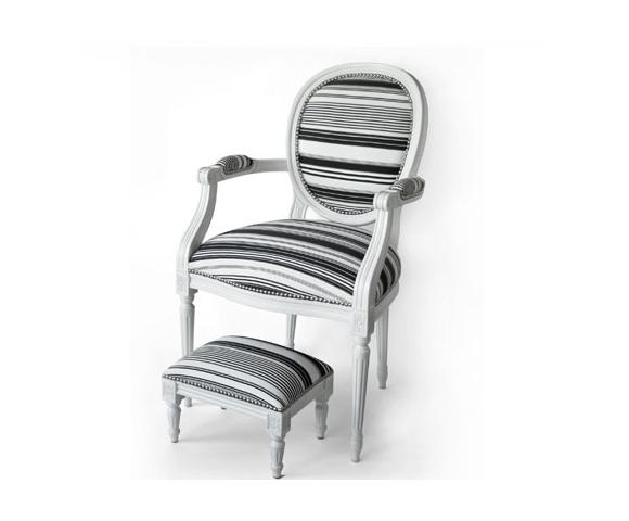 fauteuil louis xv ray noir et blanc. Black Bedroom Furniture Sets. Home Design Ideas