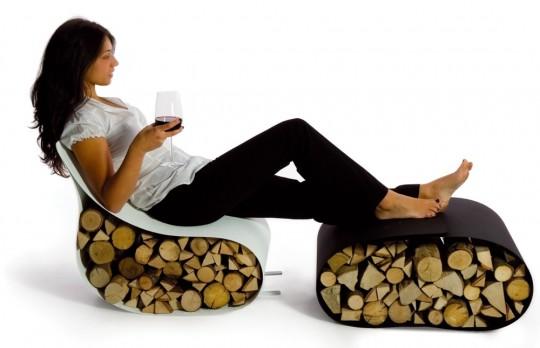 Flex - fauteuil et repose-pieds porte-bûches