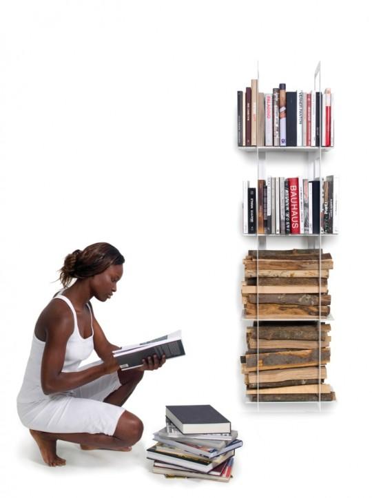 Porte-bûches bibliothèque Rigo
