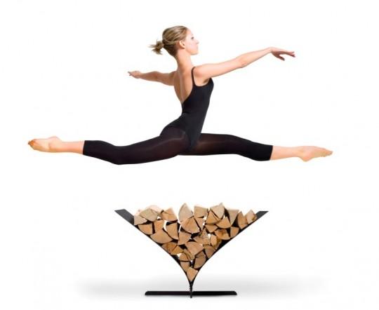 Porte-bûches en forme de V Memo avec une danseuse