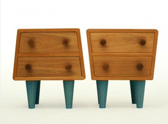 Tables de chevet en bois originales Socks