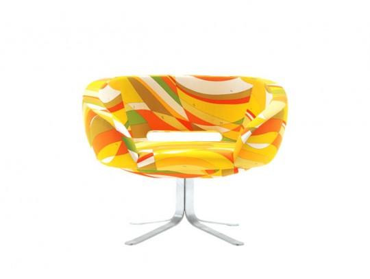 Fauteuil Cappellini Rive droite jaune et orange