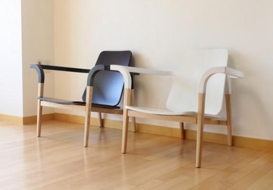 Fauteuil en frêne et noyer design contemporain.
