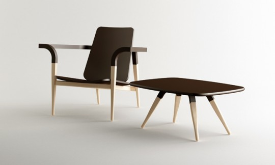 Fauteuil bas et table en bois massif design