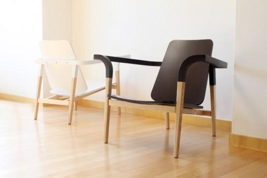 Modernatique chair, fauteuil en bois massif