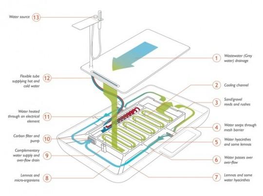 Plan de la douche Phyto purification