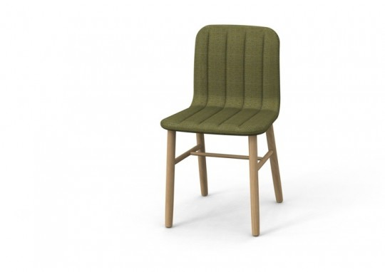 Slat chair - chaise design en bois et tissu vert kaki