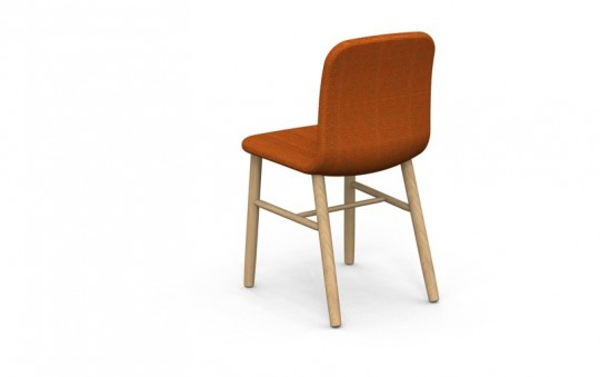 Slat chair - chaise design en bois et tissu orange