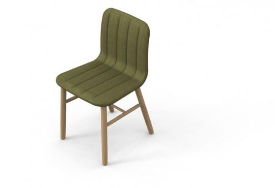 Slat chair - chaise design en bois et tissu vert foncé