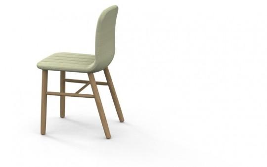 Slat chair - chaise design en bois et tissu gris clair