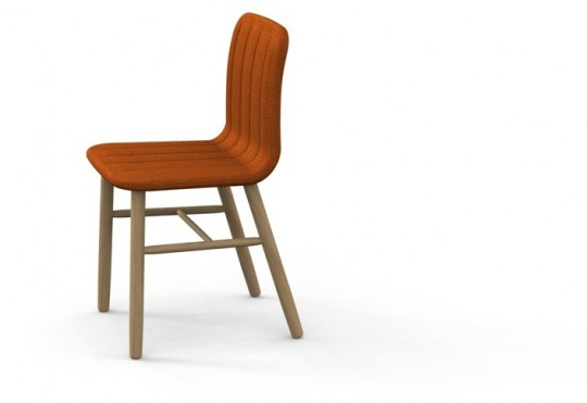 Slat chair - chaise design en bois et tissu brun