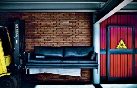 Canapé en cuir noir William Zanotta