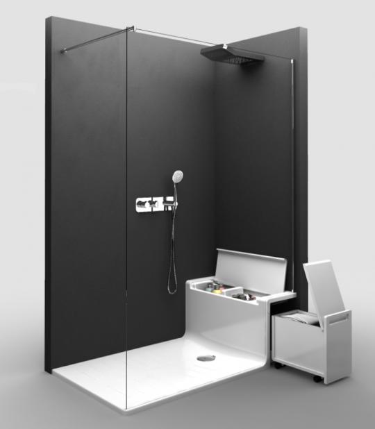 Douche à l'italienne avec banc / rangements intégrés par Roca