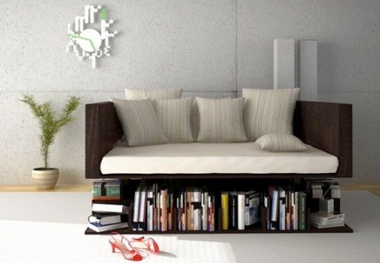 Canapé bibliothèque en lévitation