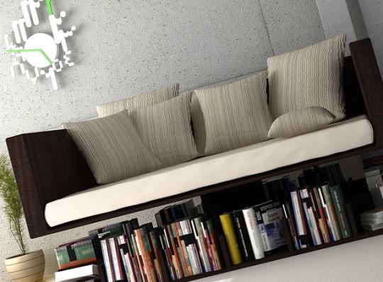 Sofa en lévitation au-dessus des livres
