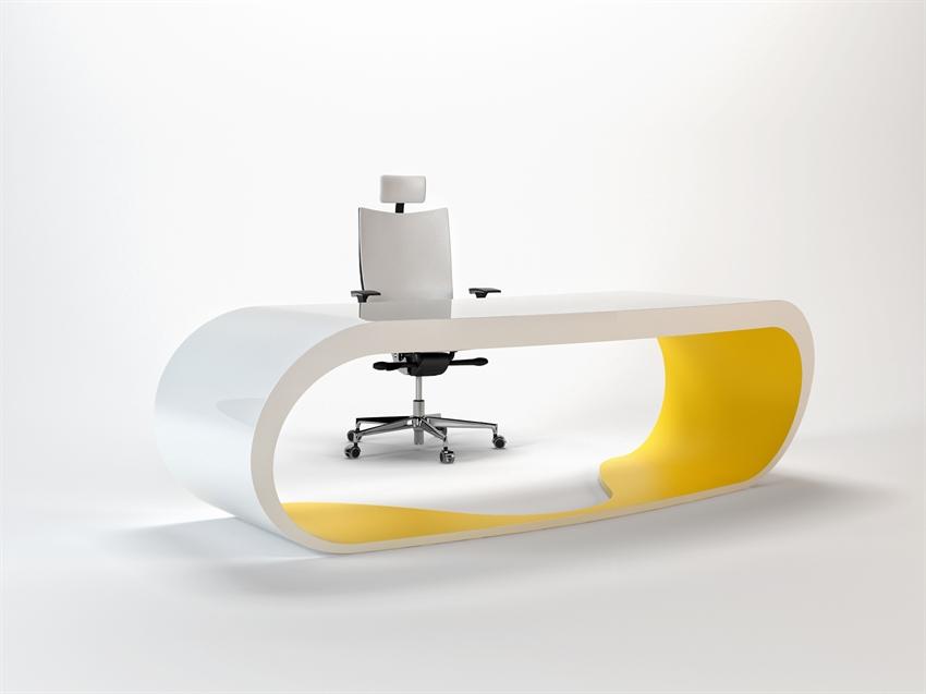 Goggle desk bureau blanc et jaune