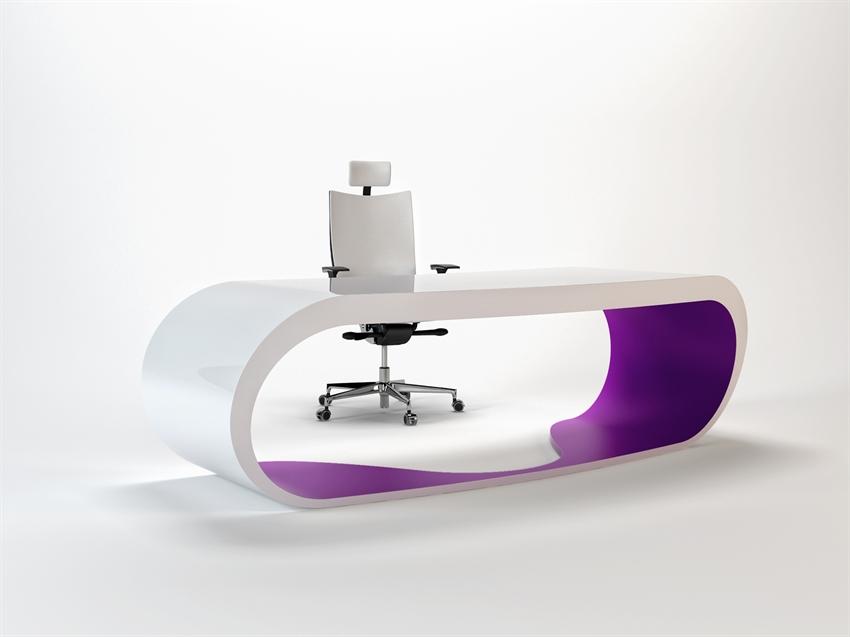 Goggle desk bureau blanc et violet contemporain