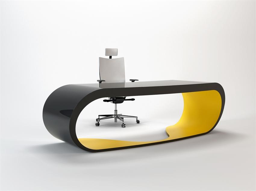 Goggle desk bureau noir et jaune design for Bureau jaune