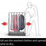Machine à laver avec penderie sur cintres