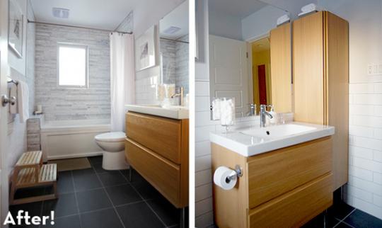 Salle de bain après rénovation dans un style contemporain