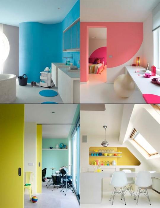 Peinture 4 couleurs - intérieur moderne