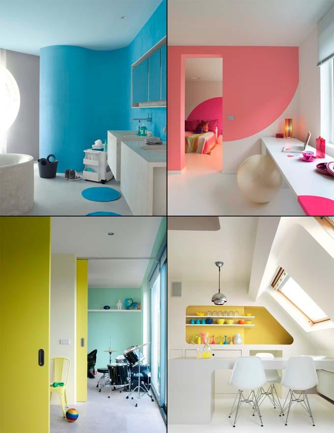 Peinture 4 couleurs int rieur moderne for Couleur interieur maison moderne