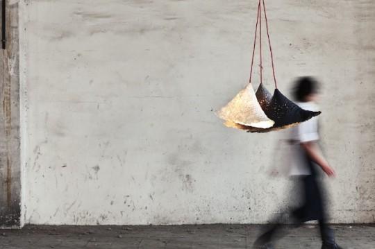 Suspension moderne en papier maché recyclé Pulp Lamp