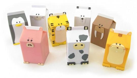 Fridgeezoo, les boites de lait en forme d'animaux