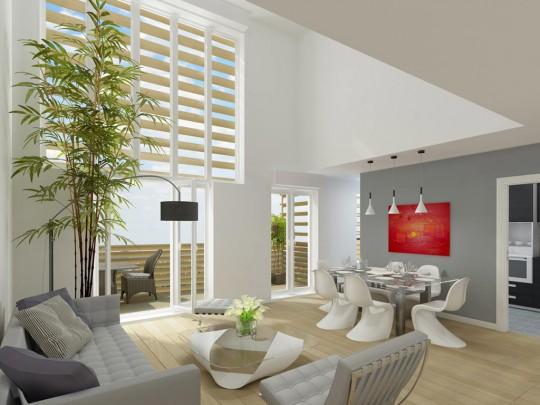 A l'intérieur d'un appartement de la résidence neuve n°15 à Paris