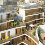 Résidence Naos : vue sur les balcons en bois naturel