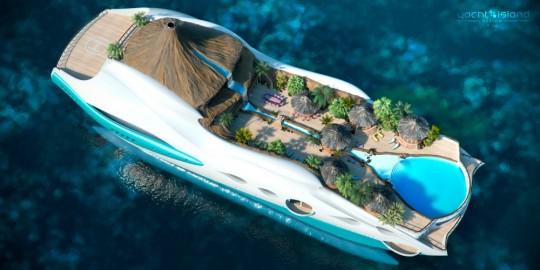 Yatch de luxe avec un volcan et une plage artificielle