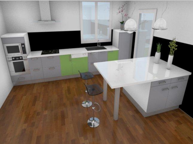 Conception 3d d 39 une cuisine avec my sketcher for Logiciel de creation de meuble 3d gratuit