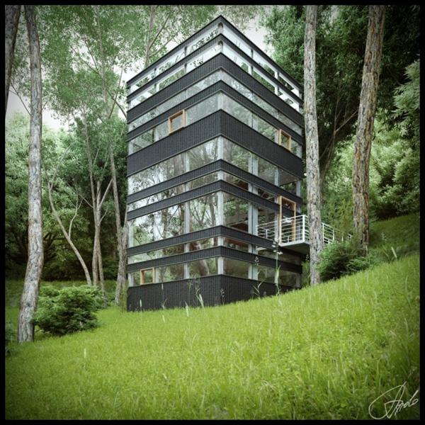 maison japonaise en forme de tour. Black Bedroom Furniture Sets. Home Design Ideas