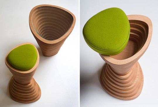 Tabouret en bois design Tettonica