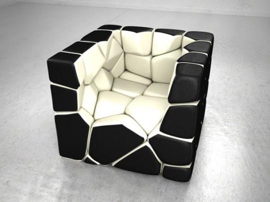 Vuzzle chair, le fauteuil design avec des coussins noir et blanc