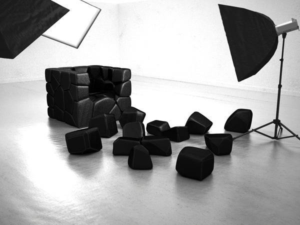 Vuzzle chair, le fauteuil design composé de 59 coussins