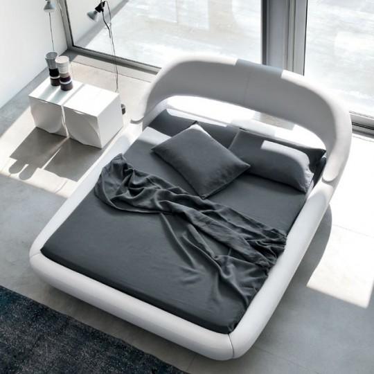 Lit design en cuir blanc Sleepy