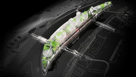 Maquette de l'île Seguin du futur par Jean Nouvel