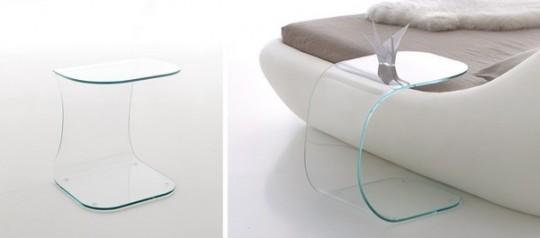 Lit Sleepy - table de chevet en verre