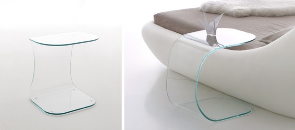 lit sleepy table de chevet en verre. Black Bedroom Furniture Sets. Home Design Ideas