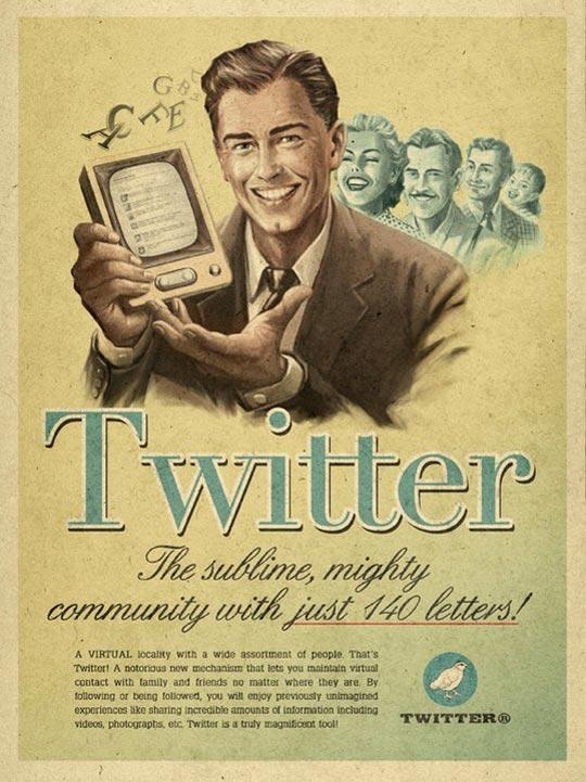 Affiche Twitter rétro vintage