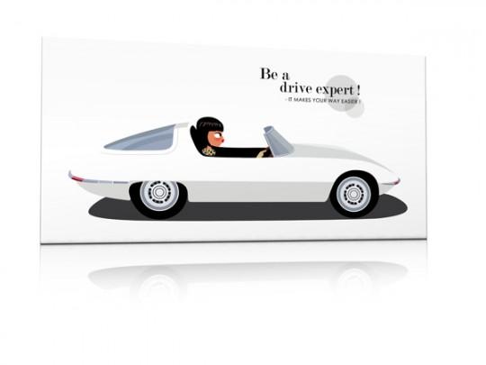 Tableau années 60 : Une voiture de sport blanche