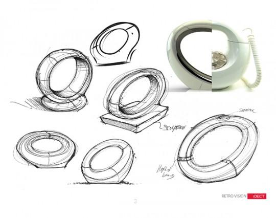 Croquis du designer Sébastien Sauvage : Eclipse phone