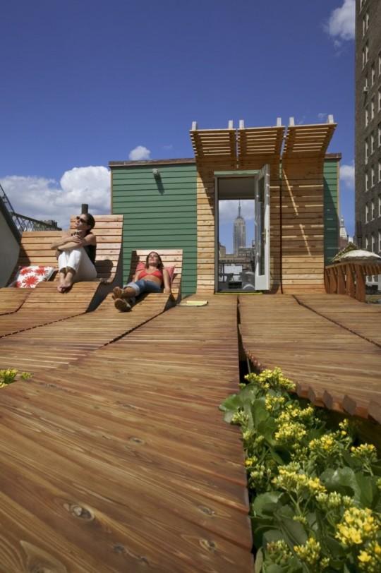 Espace bronzage sur un toit terrasse original