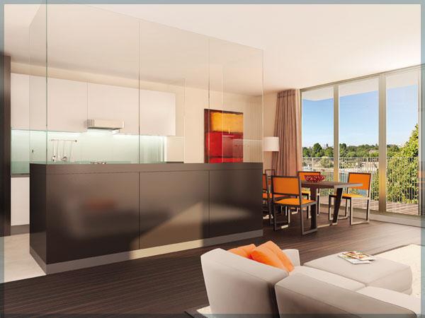 cuisine avec une s paration en verre teint e. Black Bedroom Furniture Sets. Home Design Ideas