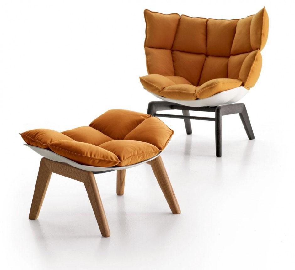 fauteuil husk marron par patricia urquiola pour b b italia. Black Bedroom Furniture Sets. Home Design Ideas